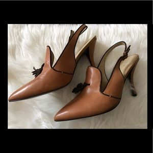 Levity Tan Leather Slingback shoes sz 9.5